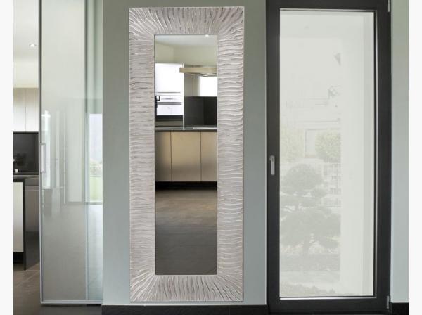 Onde Contemporary Rectangular Pint Decor Mirror in Silver Leaf