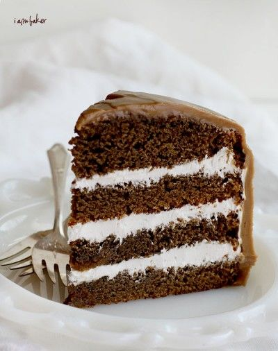 Pioneer-woman-coffee-cake, Coffee flavored cake with cream cheese frosting between the layers and a poured coffee icing!