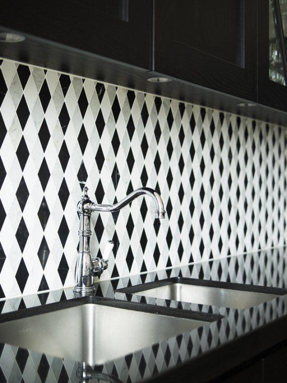 170 Best Various Kitchen Backsplashes Images On Pinterest Alluring Black And White Tile Designs For Kitchens Decorating Inspiration