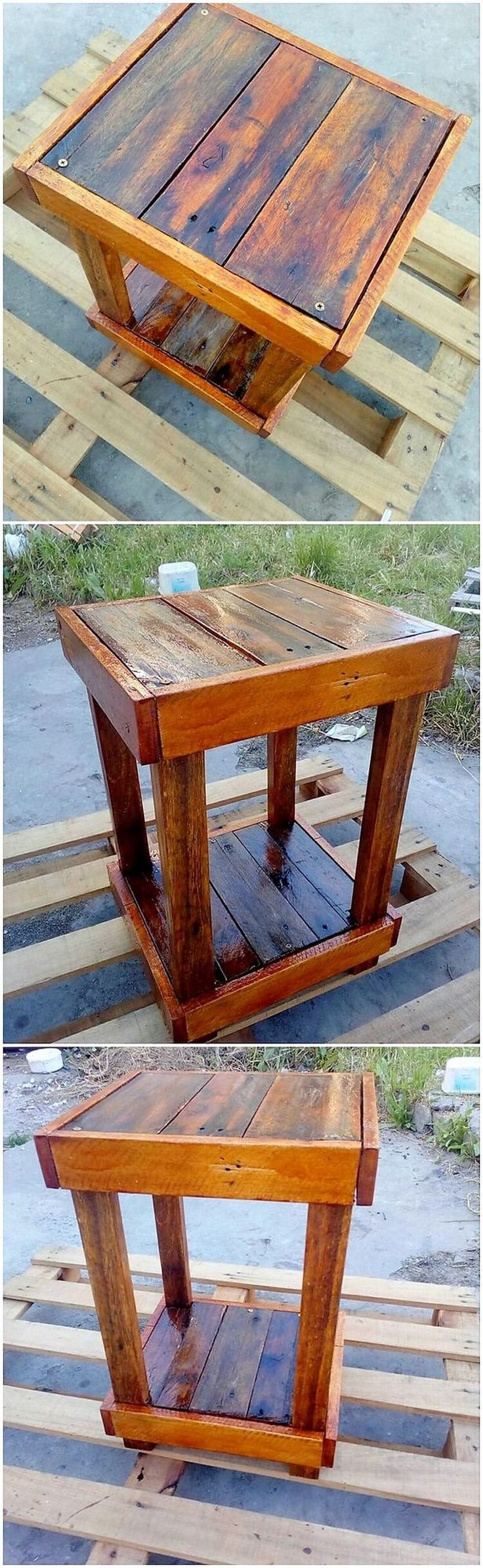 Bring about the innovative use of the wood pallet in the ideal creation of the wood pallet end table structural effect over inside it. Standing on the positioning of 4 legs support system, it is somehow looking so modish and much finished with the attractive strokes of the artwork.