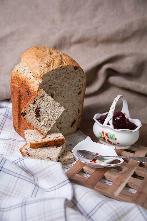 Как приготовить десертный хлеб из муки с отрубями с изюмом и маком   Хлеб в хлебопечке