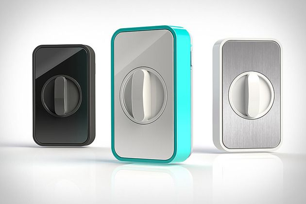 Lockitron-This sleek box slips over the inside of most deadbolt locks, and sports built-in Wi-Fi to let you check on the status of and lock/unlock your door from afar.