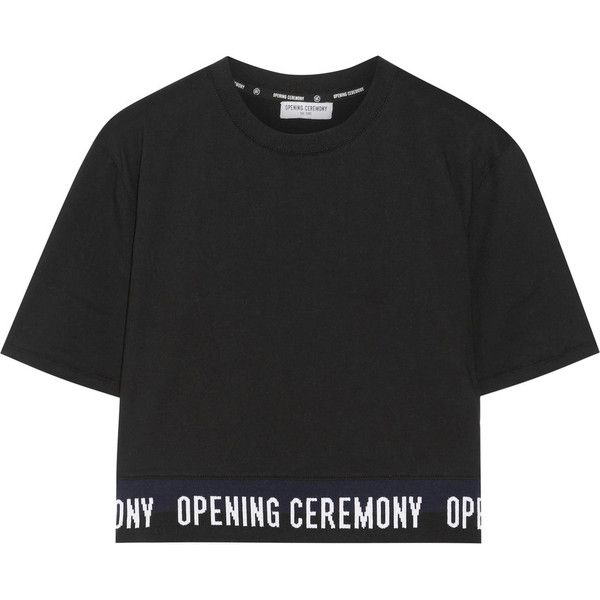 Opening Ceremony Cropped cotton-jersey T-shirt found on Polyvore featuring tops, t-shirts, cotton jersey t shirt, opening ceremony tee, cotton jersey, crop t shirt and opening ceremony top