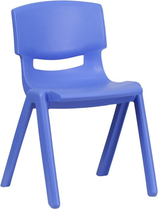 Plastic Stackable School Chair with 13.25'' Seat Height-Blue
