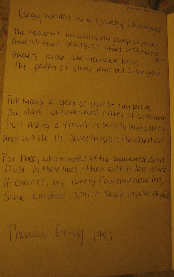 Elegy Written in a Country Churchyard by Thomas Gray ...