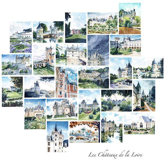 Carte postale Châteaux de la Loire, Aquarelle château Chambord, Château de Villandry, Vallée de ...