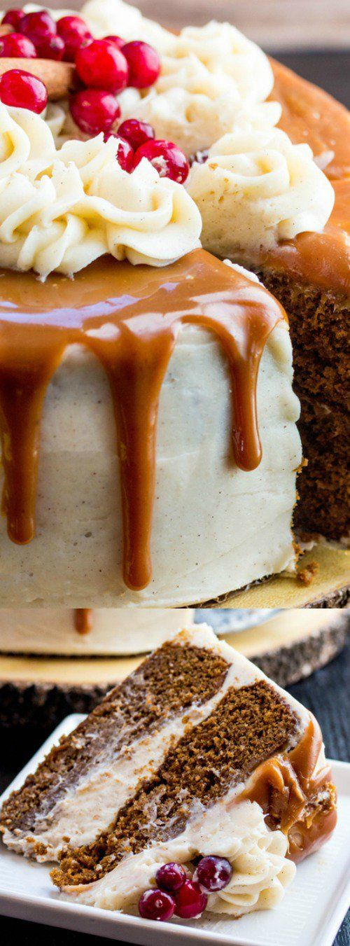 This Gingerbread Cake with Cinnamon Cream Cheese Frosting and Caramel Drizzle from Tornadough Alli is a fun holiday cake! Two layers of spiced gingerbread cake are layered with a thick creamy layer of frosting and sweet caramel!