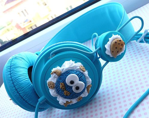 Cute Cookie Monster headphones