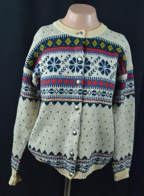Figgjo Cardigan Sweater Women's Medium 100% Virgin Wool White Geometric ButtonUp #Figgjo #Cardigan