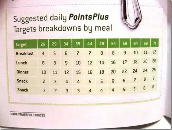 Weight Watchers Daily Points Plus Suggestions