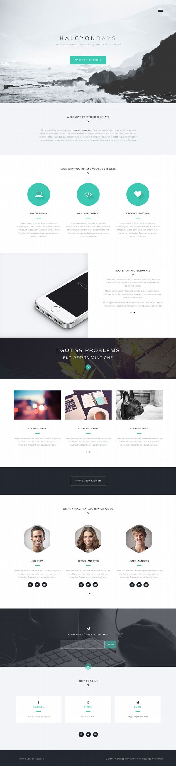 Halcyon Days is an ultra modern, versatile HTML5/CSS3 template created by Peter Finlan. Due to a pixel perfect and...
