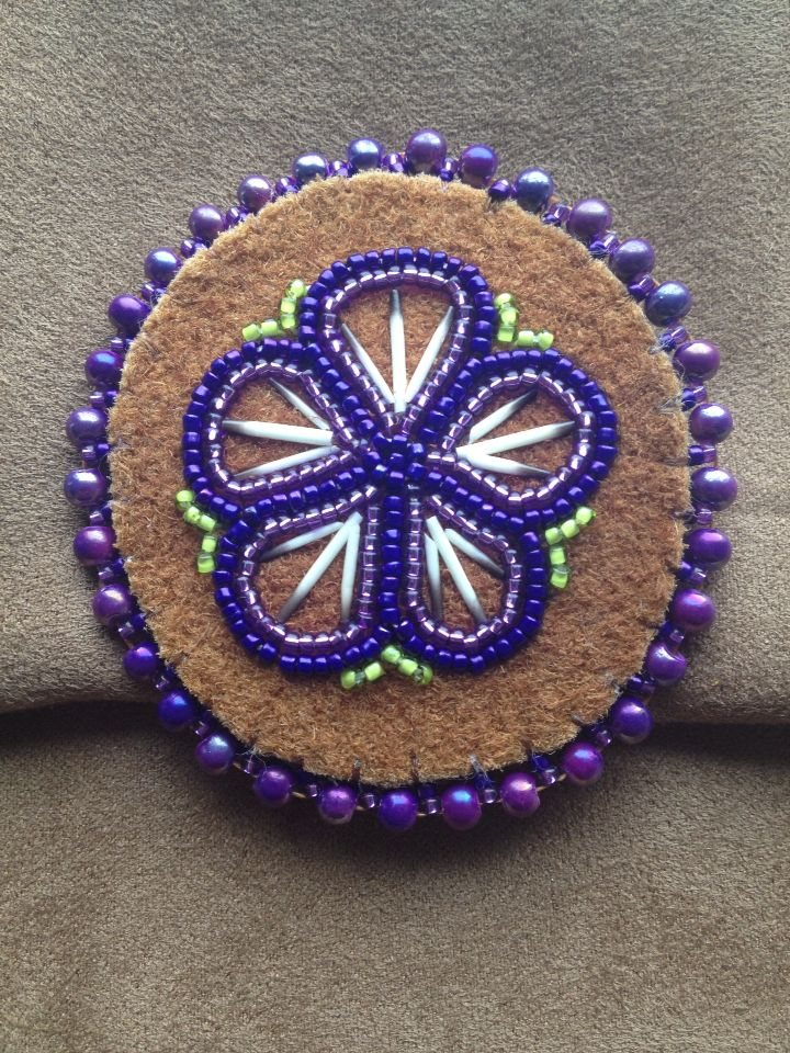 Purple Flower with porcupine quills pin by Alaska Beadwork