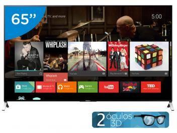"Smart TV LED 65"" Sony 4k/Ultra HD 3D XBR-65X905C - Conversor Digital Óculos…"