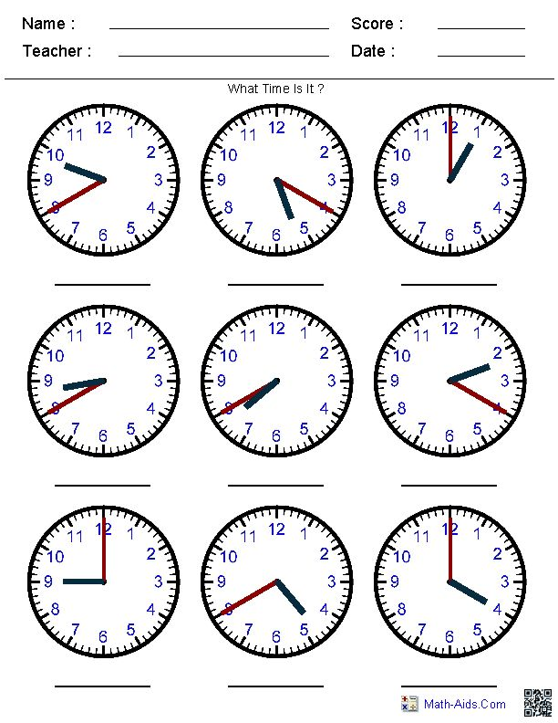 Generate Random Clock Worksheets for Pre-K, Kindergarten, 1st, 2nd, 3rd, 4th, and 5th Grades.  Identify the Time by the Hands Worksheets