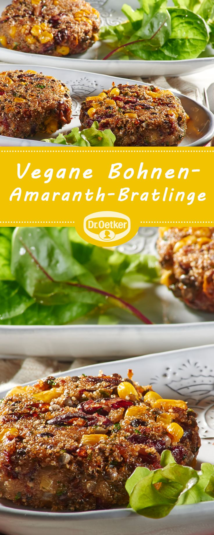 Vegane Bohnen-Amaranth-Bratlinge: Pikante Bratlinge mit viel Gemüse - vegan, vegetarisch, lactosefrei