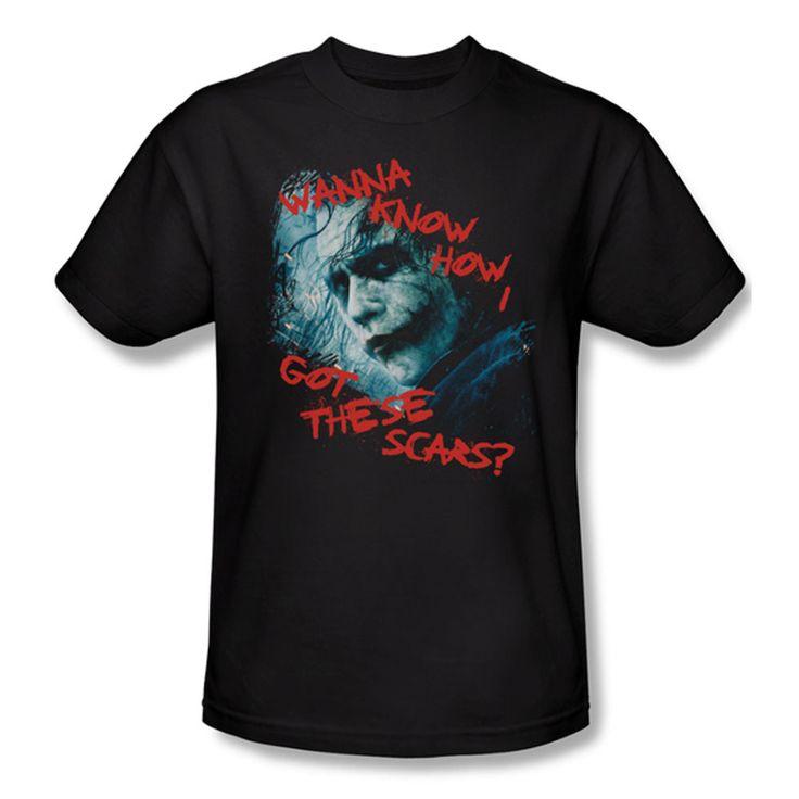Batman Dark Knight Joker Scar Question Mens T-Shirt $23.99 (includes free U.S. shipping)