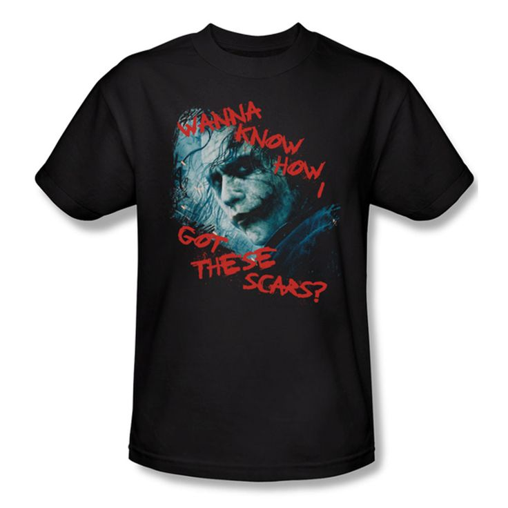 Batman Dark Knight Joker Scar Question Mens T-Shirt $23.99 (includes free U.S. shipping)