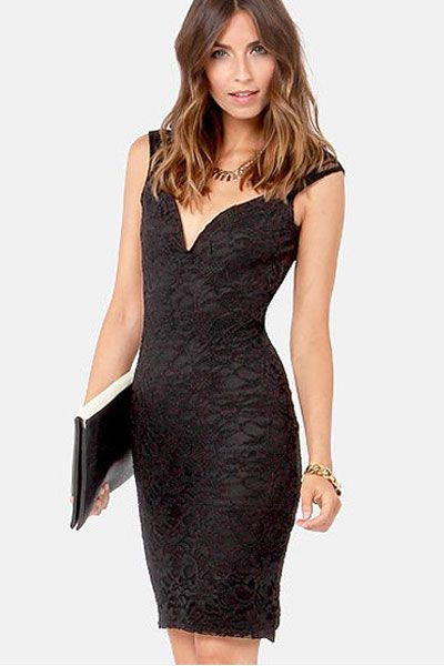 Black Trendy Lily Lace Midi Dress