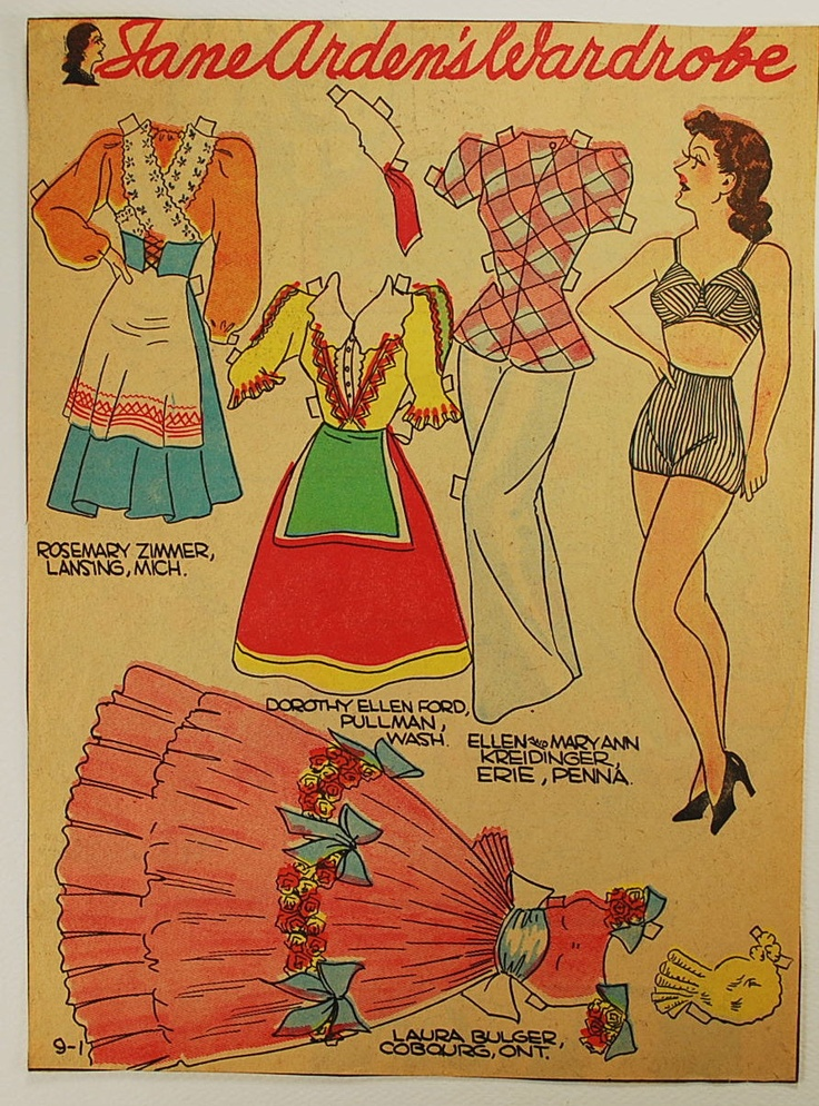 Vintage Newspaper Paper Doll, 1930-50, Vintage Paper Ephemera, Collectible, Jane Arden
