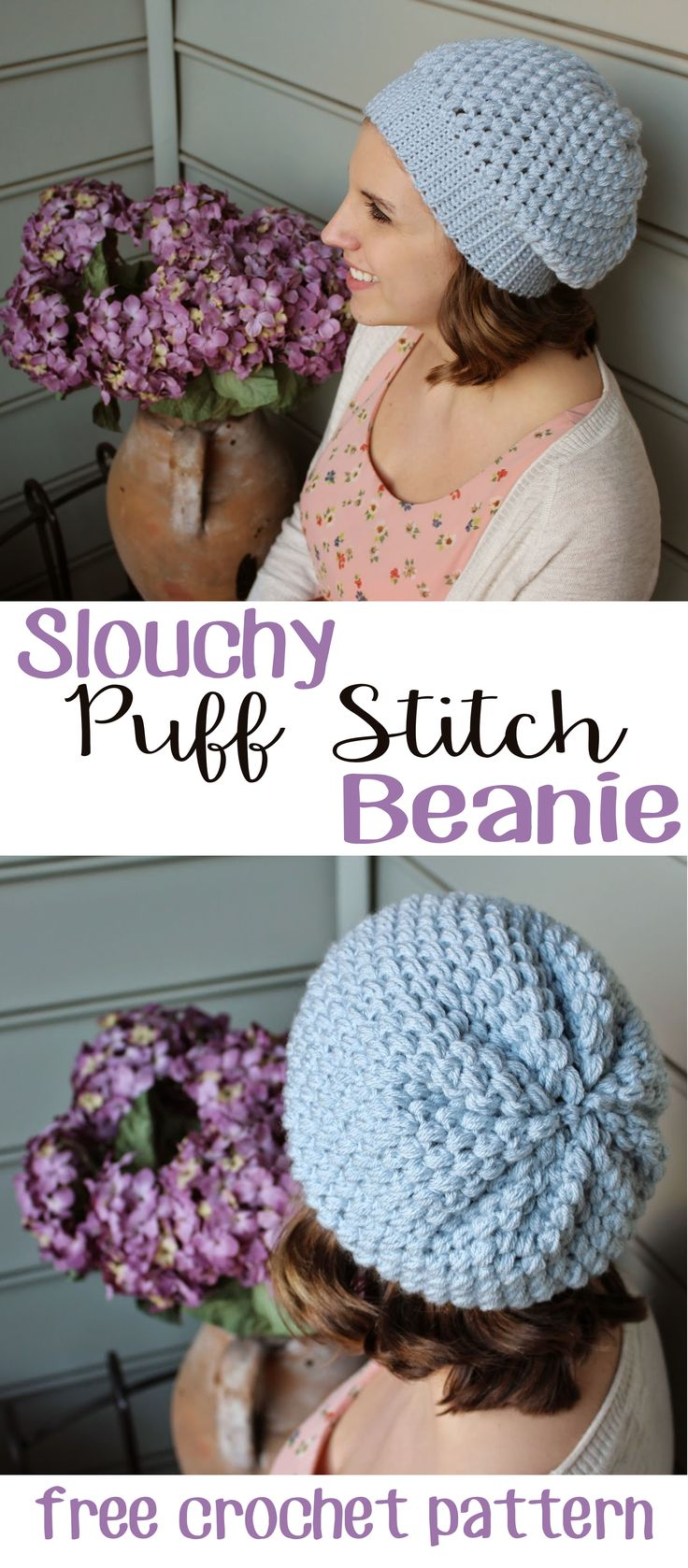 Diy crochet 6 petal puff stitch flower blanket - Easy Slouchy Puff Stitch Beanie Free Crochet Pattern From Sewrella