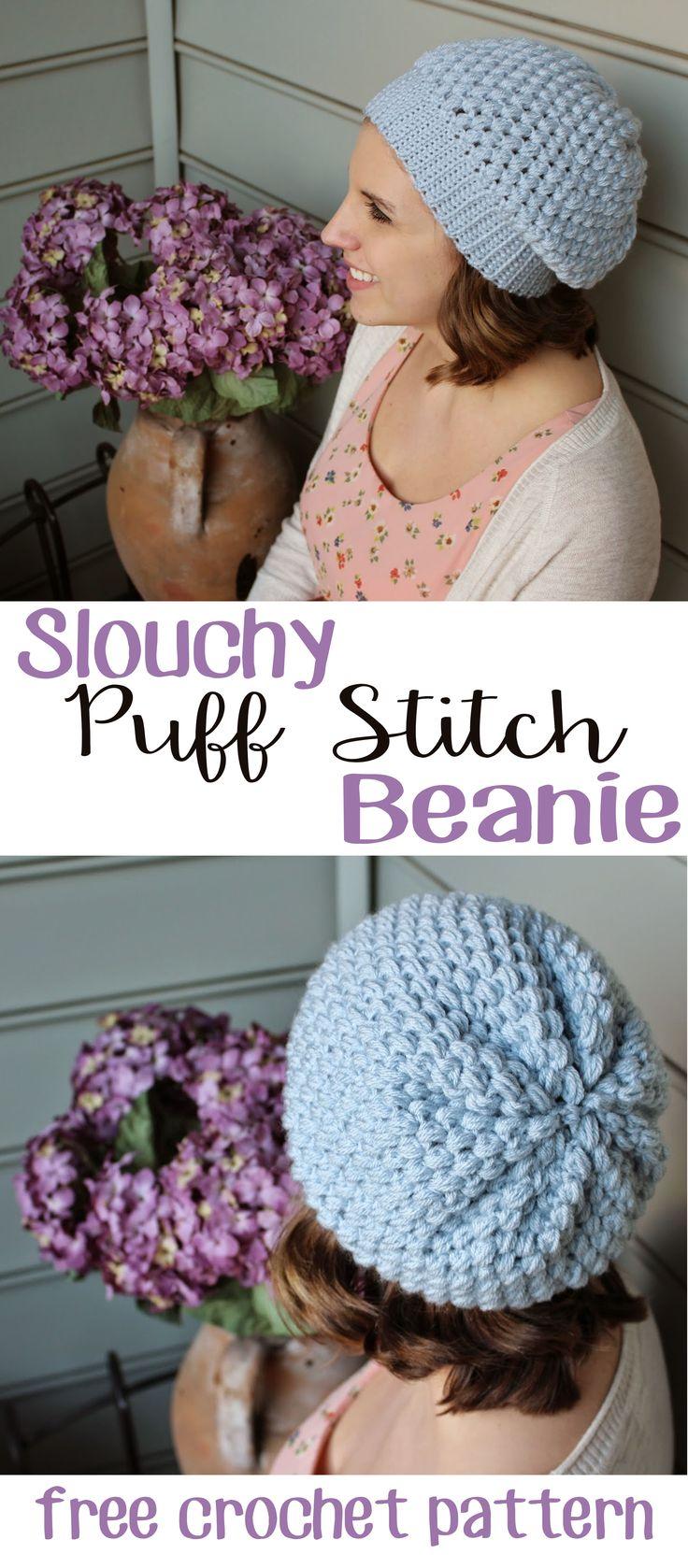 Easy Slouchy Puff Stitch Beanie   Free Crochet Pattern from Sewrella
