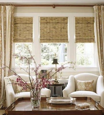 A good idea to have both blinds and curtains in a situation where the furniture won't interfere with the working of the curtains #bambooblinds #interiordesign