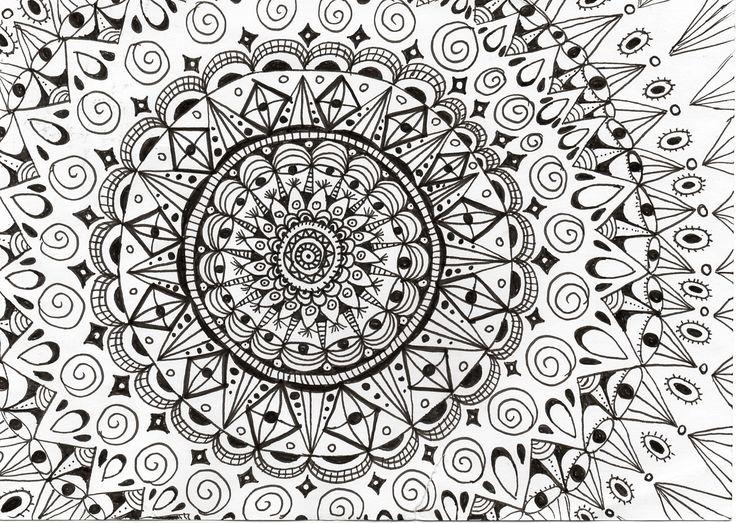 Handgemaakte Zentangle tekening van Zen met NEI