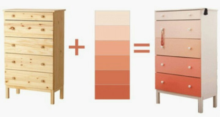 DIY Gradient Dresser: Use tester pots (about three bucks each) for each of the drawers of an old or inexpensive dresser... I LOVE this idea!
