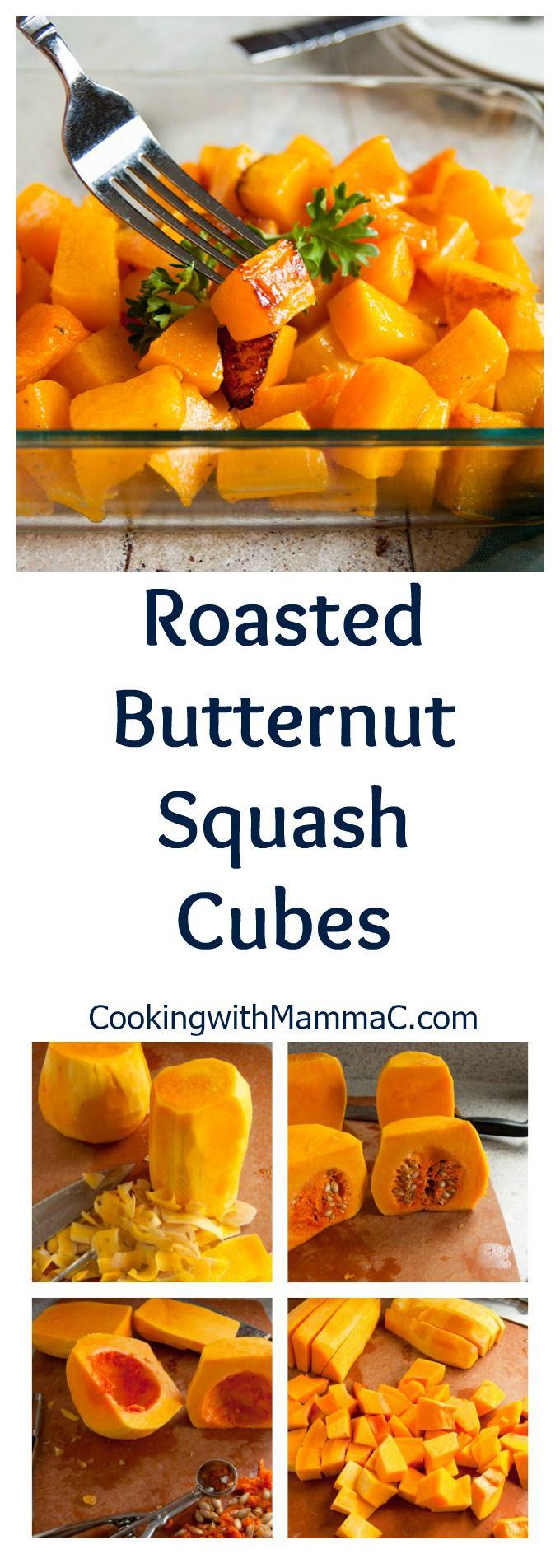 Roasted Butternut Squash Cubes - A delicious side dish recipe | Vegan | How to cut butternut squash | How to roast butternut squash | Gluten free
