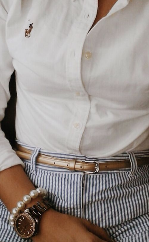 Cute preppy way to wear the skinny belt and make it pop! // imageshoppers.com