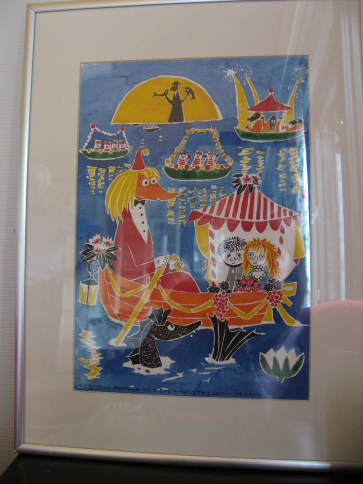 Present for my godchild Henri, year 2012. This is a copy from Tove Jansson's work.