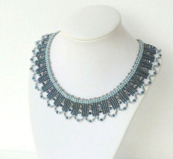 Swarovski beads Necklace Dark Blue and Silver by liorajewelry