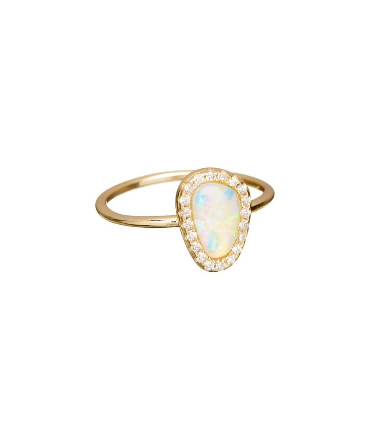 Opal & Gold Vermeil Solitaire Ring