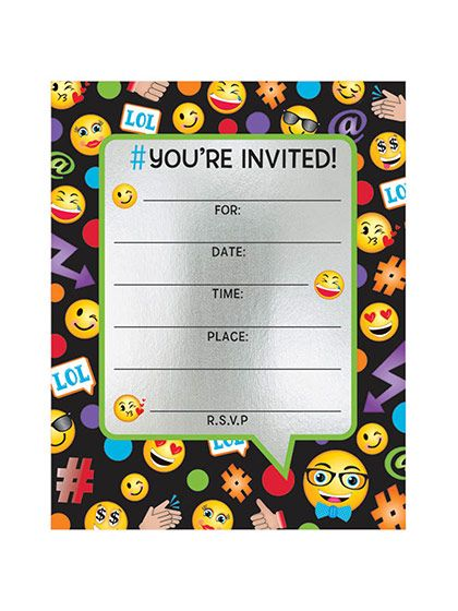 Need Emoji Foil Birthday Party Invitations (8 Count) for your next party? Search Birthday in a Box for the most wanted and party decorations with discount prices.
