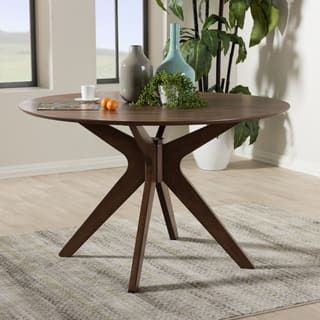 Baxton Studio Mid Century Medium Brown Wood 47 Inch Round Dining Table Home Design Ideas Pinterest Room Kitchen And Rounding