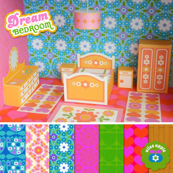 """Love this super retro """"Dream Bedroom"""" dollhouse printable! More room printables coming soon!"""