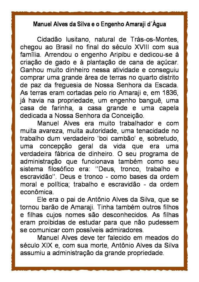 AMARAJI - DO BARONATO AO ANO 2000: Manoel Alves da Silva, Pai do Barão de Amaraji