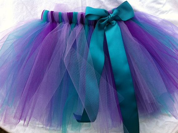 Toddler Purple Teal Tutu with Teal Satin Ribbon Party,spring, Dance or Photo prop