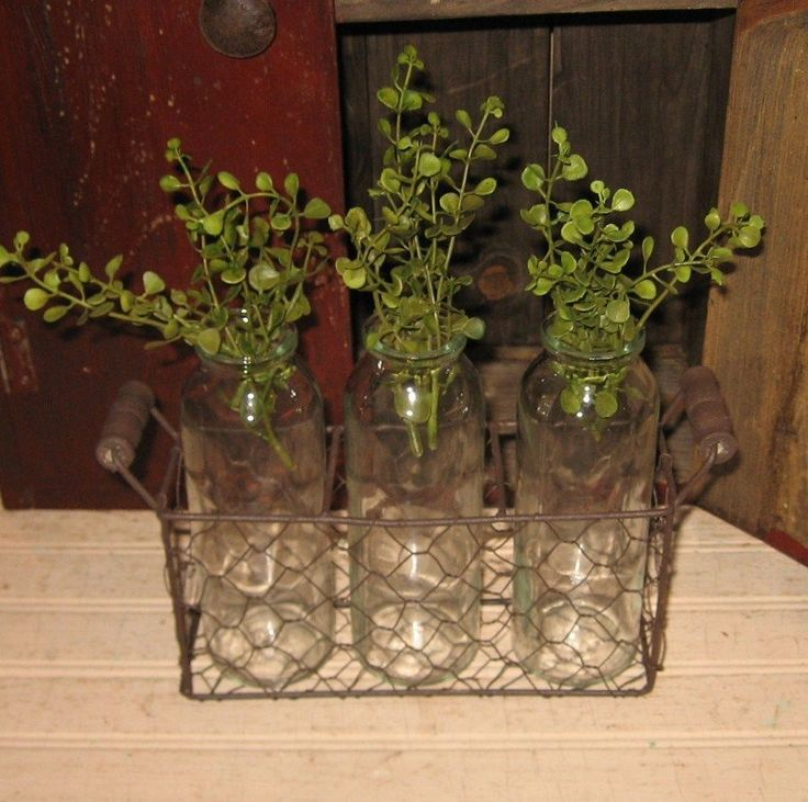 Primitive Apothecary 3 BOTTLE (Glass) In Wire/Metal/Wood BASKET+Pepper Grass…