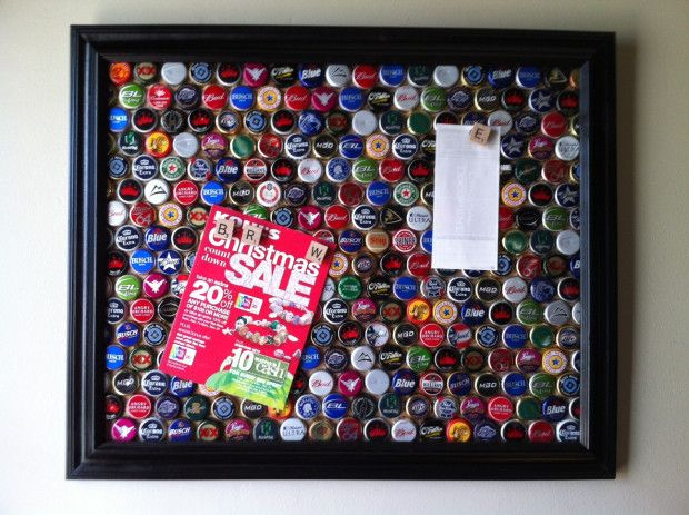 Bottle cap Magnet Board // #Upcycle This! 23 Ways to Reuse Bottle Caps