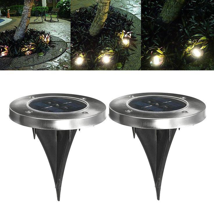 3 LED Solar Powered Waterproof Outdoor Lamp Yard Fence Garden Pathway Lawn Light