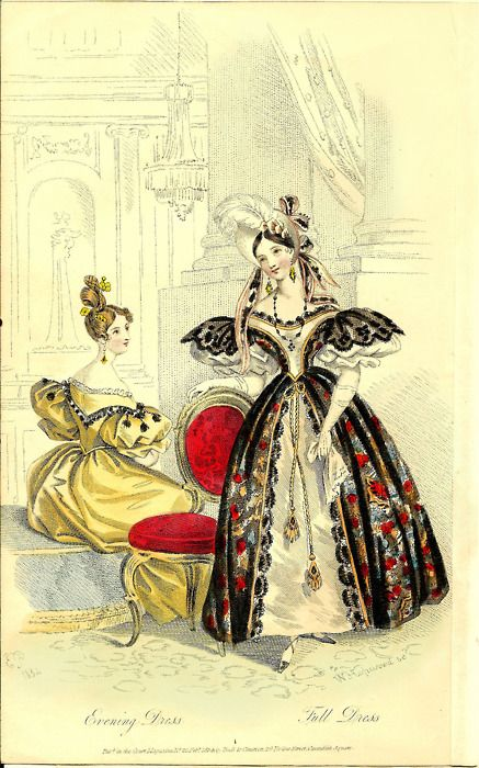 petitpoulailler:    1834 London's Court Magazine ~ Evening Dress and Fall Dress … off to a new home ♥    Yay!  I love being able to reblog!  It happens so rarely!  This, however, is another case of the dreaded sofa-dress syndrome!