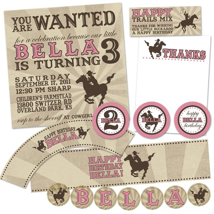 21 best rylan birthday ideas images on pinterest for kids cowgirl party invitation wording for 3rd birthday cowgirl invitation template free stopboris Images