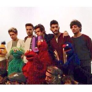 One Direction with Sesame Street Cast