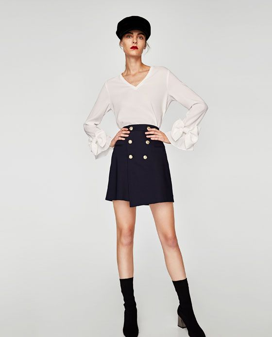 ZARA - WOMAN - V-NECK BLOUSE WITH LONG SLEEVES