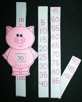"100 Day activities: Count by 10's and 5's to 100 with this wiggle-eyed piggy. FREE printables.  Quick, easy & ""hog-wild fun"" activity for 100 Day."