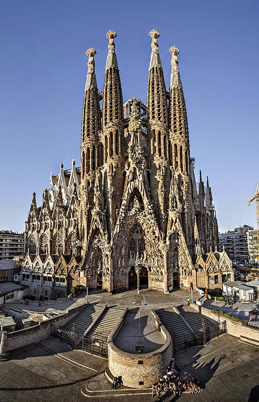 Sagrada Familia in Barcelona, literally staying 2 blocks away from this crazy beautiful architecture!! 2 blocks! ahhhh! :)