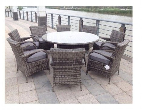 paradise 8 seater round grey rattan garden furniture dining set