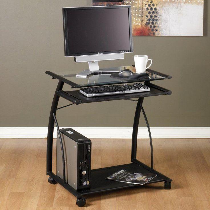 Calico Designs L Computer Cart - Black/Clear Glass - 50100