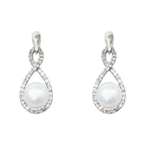 Aretes de Gala de Perlas con Zirconias  28005 - Aretes Queen Tayara - O Dream